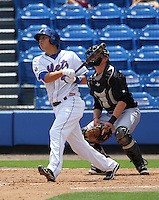 St. Lucie Mets third baseman Wilmer Flores #4 batting in front of catcher Aaron Dudley #17 during a game against the Jupiter Hammerheads at Digital Domain Park on May 2, 2012 in Port St. Lucie, Florida.  St. Lucie defeated Jupiter 3-2.  (Mike Janes/Four Seam Images)
