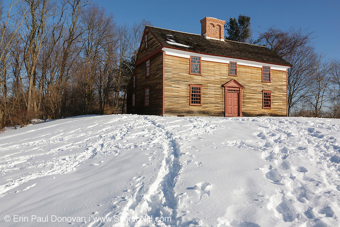 The Captain William Smith house along the Battle Road Trail at Minute Man National Historical Park in Lincoln, Massachusetts during the winter months. Captain William Smith was the commanding officer of the Lincoln Minute Men on April 19, 1775 (Battles of Lexington and Concord, which marked the beginning of the American Revolutionary War). Believed to have built been around 1692, the National Park Service restored this house in the 1980s to its 1775 appearance.