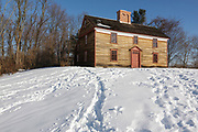 Captain William Smith House along the Battle Road Trail at Minute Man National Historical Park in Lincoln, Massachusetts during the winter months. Believed to have built been around 1692, and restored by the National Park Service in the 1980s to its 1775 appearance, Captain William Smith was the commanding officer of the Lincoln Minute Men on April 19, 1775 (battles of Lexington and Concord, which marks the beginning of the American Revolutionary War).