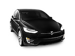 Black 2017 Tesla Model X luxury SUV electric car isolated on white background with clipping path Image © MaximImages, License at https://www.maximimages.com