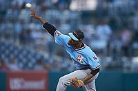 Hickory Crawdads starting pitcher Tyree Thompson (14) delivers a pitch to the plate against the Ocelotes de Greensboro at First National Bank Field on June 11, 2019 in Greensboro, North Carolina. The Crawdads defeated the Ocelotes 2-1. (Brian Westerholt/Four Seam Images)