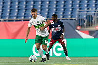 FOXBOROUGH, MA - AUGUST 26: Brandon Fricke #15 of Greenville Triumph SC looks to pass during a game between Greenville Triumph SC and New England Revolution II at Gillette Stadium on August 26, 2020 in Foxborough, Massachusetts.