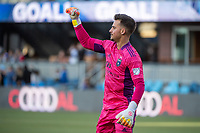 SAN JOSE, CA - MAY 22: JT Marcinkowski #1 of the San Jose Earthquakes celebrates a goal during a game between San Jose Earthquakes and Sporting Kansas City at PayPal Park on May 22, 2021 in San Jose, California.