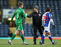 12th February 2021; Ewood Park, Blackburn, Lancashire, England; English Football League Championship Football, Blackburn Rovers versus Preston North End; Liam Lindsey of Preston North End shakes hands with Preston North End manager Alex Neill after the final whistle