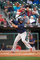 Pawtucket Red Sox shortstop Deven Marrero (17) at bat during a game against the Buffalo Bisons on August 31, 2017 at Coca-Cola Field in Buffalo, New York.  Buffalo defeated Pawtucket 4-2.  (Mike Janes/Four Seam Images)