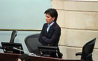 BOGOTA -COLOMBIA. 17-SEPTIEMBRE-2014. La Senadora  Claudia Lopez  durante el debate contra el senador y expresidente de Colombia Alvaro Uribe sobre paramilitarismo  .Debate convocado por el senador Ivan Cepeda contra el senador Alvaro Uribe sobre paramilitarismo. / Senator Claudia Lopez during the debate against Senator and former president of Colombia Alvaro Uribe on paramilitary .Debate convened by Senator Ivan Cepeda against Senator Alvaro Uribe on paramilitary. Photo: VizzorImage/ Felipe Caicedo / Staff