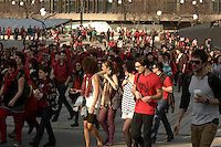 Montreal ,CANADA - File Photo  - Quebec students wearing red (the official color of the contestation) protest peacefully against the tuition hike imposed by the liberal government of Jean Charest, March 19, 2012.<br /> <br /> Photo : Agence Quebec Presse - Pierre Roussel