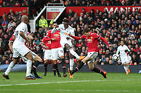 Tammy Abraham of Swansea City shoots at goal during the Premier League match between Manchester United and Swansea City at the Old Trafford, Manchester, England, UK. Saturday 31 March 2018