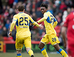 Aberdeen v St Johnstone…31.03.18…  Pittodrie    SPFL<br />Matty Willock celebrates his goal with Chris Kane<br />Picture by Graeme Hart. <br />Copyright Perthshire Picture Agency<br />Tel: 01738 623350  Mobile: 07990 594431