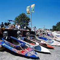 Nanaimo, BC, British Columbia, Canada - Bathtubs lined up on Beach after finishing International World Championship Bathtub Race