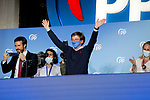 Pablo Casado (l), President of the Popular Party and Jose Luis Martinez-Almeida, Mayor of Madrid, celebrate the victory in the Madrid regional elections at the PP headquarters on May 04, 2021 in Madrid, Spain.(AlterPhotos/Ramiro Ellis)