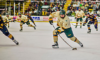29 December 2013:  University of Vermont Catamount Forward Tom Forgione, a Freshman from South Burlington, VT, takes a second shot against the Canisius College Golden Griffins at Gutterson Fieldhouse in Burlington, Vermont. The Catamounts defeated the Golden Griffins 6-2 to capture the 2013 Sheraton/TD Bank Catamount Cup NCAA Hockey Tournament for the second straight year. Mandatory Credit: Ed Wolfstein Photo *** RAW (NEF) Image File Available ***