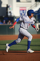 Junior Perez (27) of the Stockton Ports runs the bases during a game against the Rancho Cucamonga Quakes at LoanMart Field on May 26, 2021 in Rancho Cucamonga, California. (Larry Goren/Four Seam Images)