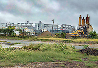 Washington D.C. - October 1, 2016: Concrete mixing plant and Nationals Park looking towards Potomac Avenue. Buzzards Point area in Southwest Washington D.C. cleared for construction of the new soccer stadium for D.C. United scheduled to open in 2018.