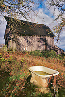 Old barn with bathtub water trough. Near Monroe, Oregon.