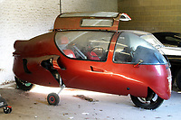 BNPS.co.uk (01202) 558833. <br /> Pic: Rowley's/DeepSouth/BNPS<br /> <br /> A rare Ecomobile designed by a madcap inventor that left Jeremy Clarkson speechless has sold for over £11,000.<br /> <br /> The 1995 Peraves Super Turbo was 12ft long, 4ft wide and essentially an enclosed motorcycle, but the driver had to put down its stabilisers every time the machine came to rest.<br /> <br /> Only 89 of the bizarre contraptions were ever made before the concept was scrapped, but not before it was tested on Jeremy Clarkson's Motorworld in 1996.