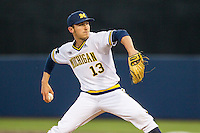 Michigan Wolverines pitcher Keith Lehmann (13) delivers a pitch to the plate against the Oakland Golden Grizzlies on May 17, 2016 at Ray Fisher Stadium in Ann Arbor, Michigan. Oakland defeated Michigan 6-5 in 10 innings. (Andrew Woolley/Four Seam Images)