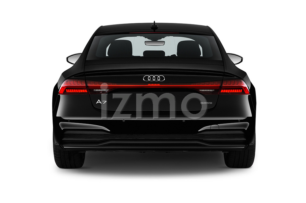 Straight rear view of 2020 Audi A7 Premium-Plus 5 Door Hatchback Rear View  stock images