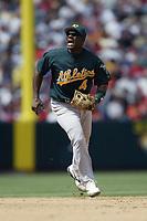 Miguel Tejada of the Oakland Athletics during a 2003 season MLB game at Angel Stadium in Anaheim, California. (Larry Goren/Four Seam Images)