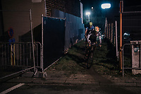 Kohei Maeda (JAP) emerging from a dark&narrow alley<br /> <br /> Elite Men's Race<br /> Superprestige Diegem / Belgium 2017