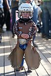 Weston Starr, 2, of Fallon, waits for the start of the mutton bustin' event at the Smackdown Tour at Fuji Park in Carson City, Nev., on Saturday, June 7, 2014.<br /> Photo by Cathleen Allison