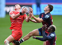 30th September 2020; Ashton Gate Stadium, Bristol, England; Premiership Rugby Union, Bristol Bears versus Leicester Tigers; Freddie Steward of Leicester Tigers competes in the air with Ioan Lloyd of Bristol Bears