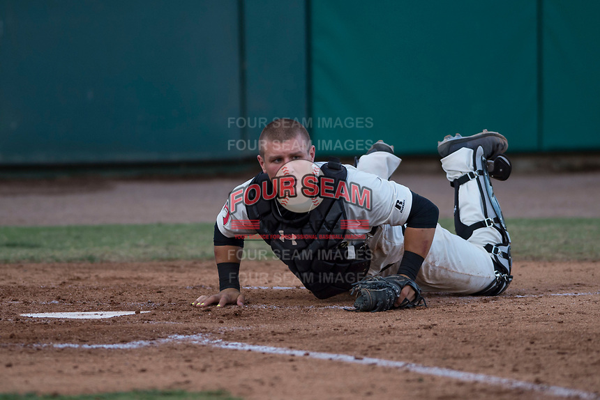Visalia Rawhide catcher Daulton Varsho (9) after applying a tag to Nate Mondou (not pictured) to prevent a run during a California League game against the Stockton Ports at Visalia Recreation Ballpark on May 8, 2018 in Visalia, California. Stockton defeated Visalia 6-2. (Zachary Lucy/Four Seam Images)