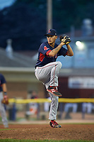 Lowell Spinners relief pitcher Ryan Oduber (12) delivers a pitch during a game against the Batavia Muckdogs on July 12, 2017 at Dwyer Stadium in Batavia, New York.  Batavia defeated Lowell 7-2.  (Mike Janes/Four Seam Images)