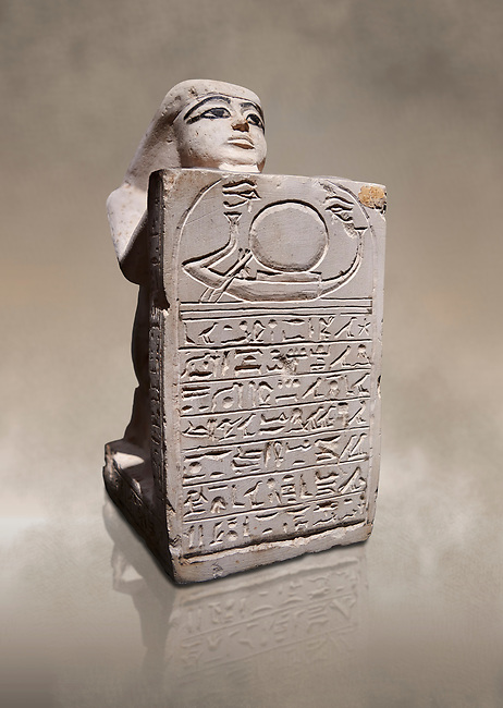 Ancient Egyptian stelophorus statue of Ubenre, New Kingdom, 19th-20th Dynasty, (1292-1076 BC), Deir el-Medina, Egyptian Museum, Turin. Cat 3040. <br /> <br /> This type of stele is so called stelophorous statue. It consists of kneeling figure holding or offering stele. They were produced from the 18th dynasty onwards. Such stelae were usually inscribed with hymns to the sun-god.