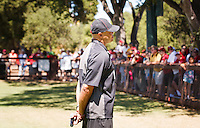 STANFORD,CA-- August 24, 2013: David Shaw, head coach, talks to the fan after the open practice at the Dan Elliott Practice Field Saturday.<br /> <br /> It was part the Stanford Football 2013 Open House.