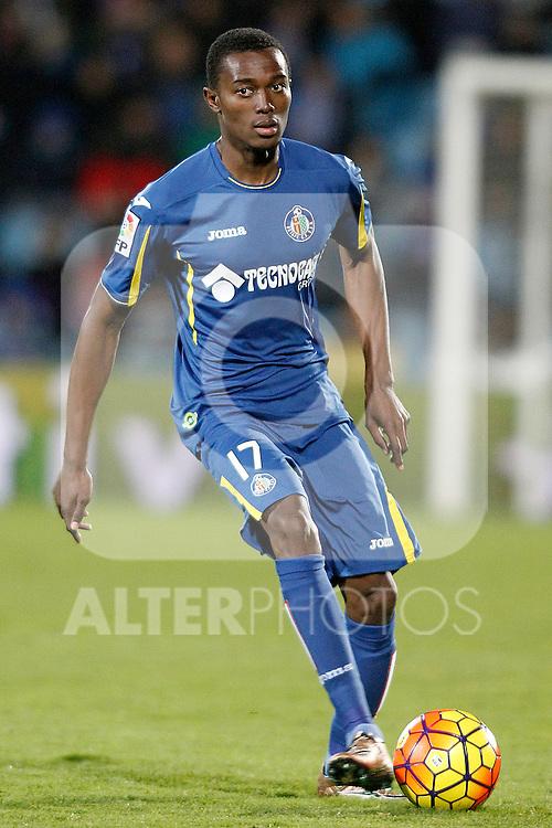 Getafe's Bernard Mensah during La Liga match. February 14,2016. (ALTERPHOTOS/Acero)