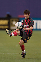 The MetroStars' Joselito Vaca. The New England Revolution played the NY/NJ MetroStars to a 1 to 1 tie at Giant's Stadium, East Rutherford, NJ, on April 25, 2004.