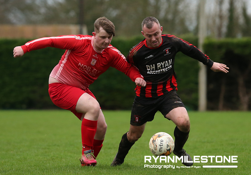 EVENT:<br /> TSDL Premier Division<br /> Two Mile Borris v Peake Villa<br /> Sunday 5th January 2020<br /> Newhill, Littleton, Co Tipperary<br /> <br /> CAPTION:<br /> Michael Ryan of Peake Villa in action against Caolan O'Brien of Two Mile Borris<br /> <br /> Photo By: Michael P Ryan