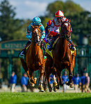October 03, 2020: Newspaperofrecord and Tyler Gaffalione and  Uni with Joel Rosario race in the First Lady Stakes at Keenland Racecourse, in Lexington, Kentucky on October 03, 2020.  Evers/Eclipse Sportswire/CSM