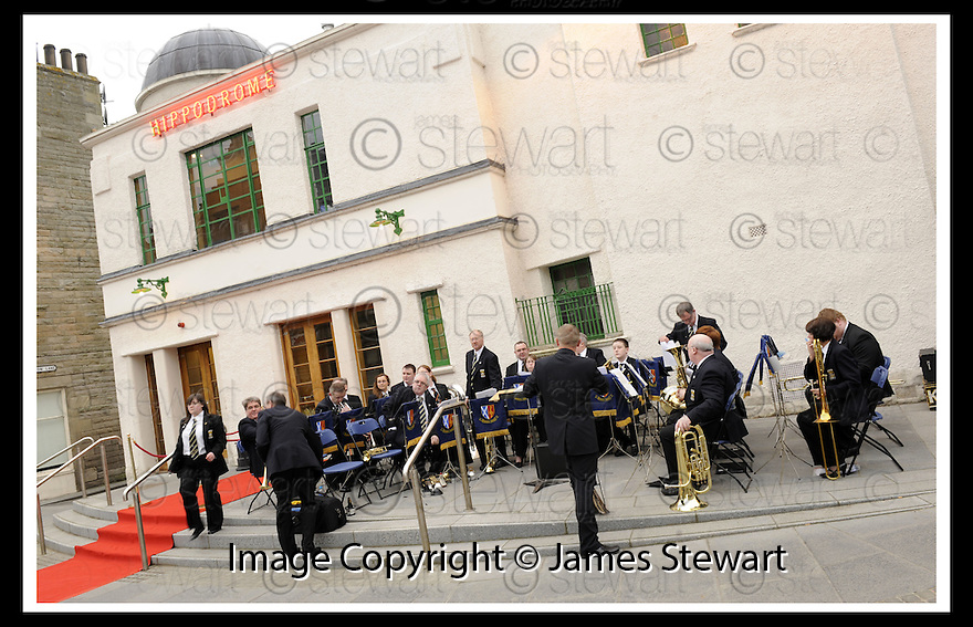 07/04/2009  Copyright Pic: James Stewart.File Name : 19_hippodrome_opening.KINEIL BAND PREPARE TO PLAY AT THE FIRST NIGHT OFFICIAL RE-OPENING OF THE HIPPODROME IN BO'NESS.....James Stewart Photography 19 Carronlea Drive, Falkirk. FK2 8DN      Vat Reg No. 607 6932 25.Telephone      : +44 (0)1324 570291 .Mobile              : +44 (0)7721 416997.E-mail  :  jim@jspa.co.uk.If you require further information then contact Jim Stewart on any of the numbers above.........