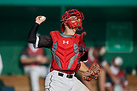 Jacob Cozart (38) during the WWBA World Championship at Terry Park on October 10, 2020 in Fort Myers, Florida.  Jacob Cozart, a resident of High Point, North Carolina who attends Wesleyan Christian Academy, is committed to North Carolina State.  (Mike Janes/Four Seam Images)