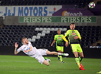 Pictured: Oliver McBurnie of Swansea City heads the ball off target Monday 15 May 2017<br /> Re: Premier League Cup Final, Swansea City FC U23 v Reading U23 at the Liberty Stadium, Wales, UK