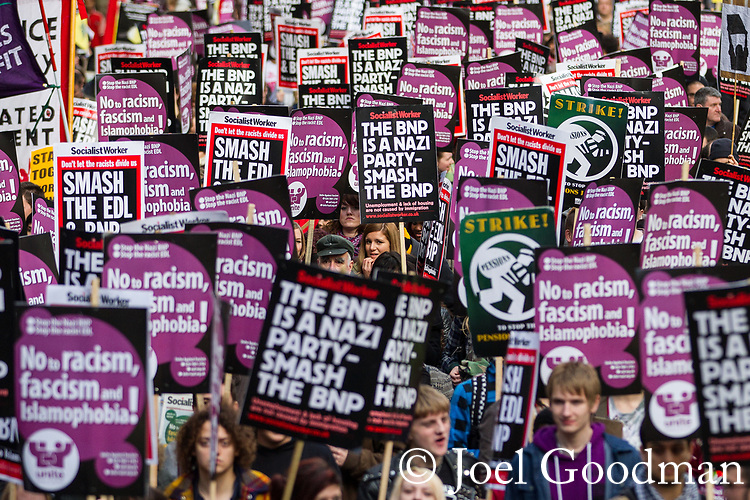 © Joel Goodman - 07973 332324 - all rights reserved . 06/11/2010 . London , UK . Unite Against Fascism ( UAF ) hold a demonstration and march against racism, fascism and homophobia , with a march and rally through Westminster . Photo credit : Joel Goodman