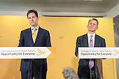 Nick Clegg and David Laws. Liberal Democrat pre-election press conference, Westminster, London.