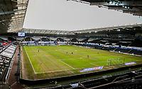 19th December 2020; Liberty Stadium, Swansea, Glamorgan, Wales; English Football League Championship Football, Swansea City versus Barnsley; Grounds men work on the pitch surface before kick off