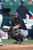 Jupiter Hammerheads catcher Keegan Fish (1) during a game against the Lakeland Flying Tigers on July 30, 2021 at Joker Marchant Stadium in Lakeland, Florida.  (Mike Janes/Four Seam Images)