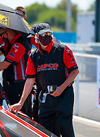 Aug 8, 2020; Clermont, Indiana, USA; Richard Hogan, crew chief for NHRA top fuel driver Steve Torrence during qualifying for the Indy Nationals at Lucas Oil Raceway. Mandatory Credit: Mark J. Rebilas-USA TODAY Sports