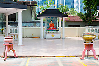 Buddhist Shrine and Incense, Maha Vihara Buddhist Temple, Kuala Lumpur, Malaysia.