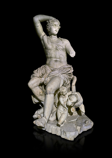 Roman statue of Dionysus. Marble. Perge. 2nd century AD. Inv no . Antalya Archaeology Museum; Turkey. Against a black background.<br /> <br /> Dionysus  is the god of the grape-harvest, winemaking and wine, of fertility, ritual madness, religious ecstasy, and theatre in ancient Greek religion and myth.