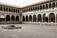 Peru, Cusco.  Inner Courtyard, Santo Domingo Monastery, formerly Inca Qorikancha,  Temple of the Sun.