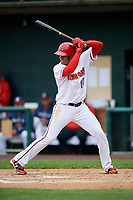 Harrisburg Senators left fielder Juan Soto (10) at bat during the first game of a doubleheader against the New Hampshire Fisher Cats on May 13, 2018 at FNB Field in Harrisburg, Pennsylvania.  New Hampshire defeated Harrisburg 6-1.  (Mike Janes/Four Seam Images)