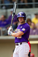 LSU Tigers designated hitter Jordy Snikeris #20 during the NCAA Super Regional baseball game against Stony Brook on June 9, 2012 at Alex Box Stadium in Baton Rouge, Louisiana. Stony Brook defeated LSU 3-1. (Andrew Woolley/Four Seam Images)
