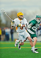 24 April 2012: University of Vermont Catamount Attackman/Midfielder Garrett Virtue, a Junior from Rye, NY, in action against the Dartmouth College Big Green at Virtue Field in Burlington, Vermont. The Catamounts fell to the visiting Big Green 10-5 in Men's Varsity Lacrosse action. Mandatory Credit: Ed Wolfstein Photo