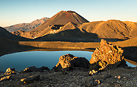 Sunrise over Blue Lake with volcano Mount Ngaruhoe 2287m in background, Tongariro National Park, Central Plateau, North Island, UNESCO World Heritage Area, New Zealand, NZ