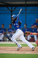 GCL Blue Jays designated hitter Jose Abel Hernandez (37) follows through on a swing during a game against the GCL Phillies West on August 7, 2018 at Bobby Mattick Complex in Dunedin, Florida.  GCL Blue Jays defeated GCL Phillies West 11-5.  (Mike Janes/Four Seam Images)